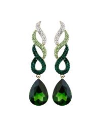 Mikey | Green Twisted Dsgn + Drop Crystal Earring | Lyst