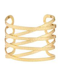 Lydell NYC - Metallic Hammered Cuff Bracelet - Lyst