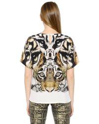 Roberto Cavalli Multicolor Sequined Silk Crepe De Chine T-shirt