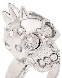 Alexander McQueen Metallic Crystal-Embellished Skull Ring