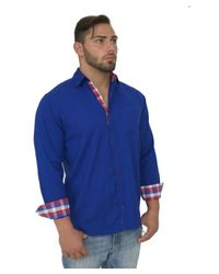 Giorgio Bellini - Blue Monaco Linen Blend Button Front Shirt for Men - Lyst