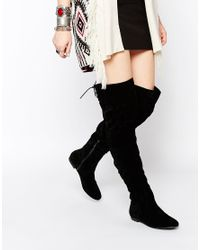 Daisy Street | Black Over The Knee Tie Back Flat Boots | Lyst