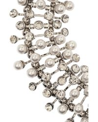 Kenneth Jay Lane - White Rhodium-Tone, Faux Pearl And Crystal Necklace - Lyst