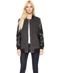 Current/Elliott Gray The Stanwood Bomber Jacket Ralston with Leather