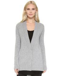 Tess Giberson - Gray Cashmere Knit Jacket - Grey Melange - Lyst