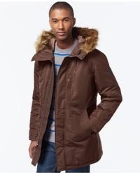 Sean John Brown Faux-fur-trim Hooded Long Parka for men