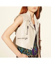 COACH - Natural Surf Leather and Jersey Biker Vest - Lyst