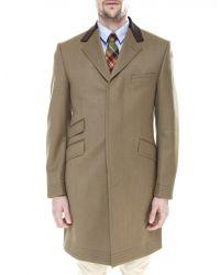 Jules B - Brown Covert Overcoat for Men - Lyst