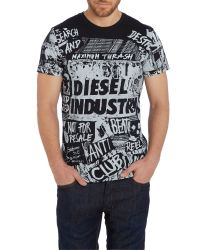DIESEL - Black Print Crew Neck Regular Fit T-shirt for Men - Lyst