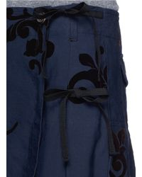 Dries Van Noten Blue 'satu Long' Velvet Flock Cotton-silk Midi Skirt