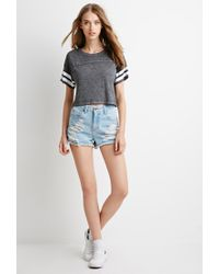 Forever 21 Black Varsity-striped Crop Top You've Been Added To The Waitlist