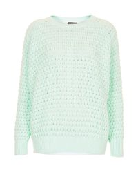 TOPSHOP | Green Knitted Chunky Bobble Jumper | Lyst