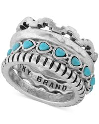 Lucky Brand | Metallic Silver-tone Stone Stack Ring | Lyst