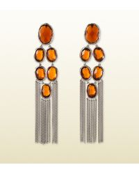 Gucci Silver Raindrop Earrings With Orange Stones
