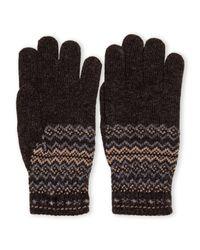 Ben Sherman - Gray Fair Isle Knit Gloves for Men - Lyst