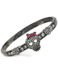 Betsey Johnson | Gray Gold-tone Crystal Skull Bangle Bracelet | Lyst