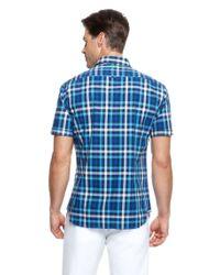 BOSS Green - Blue Bastiano   Regular Fit, Short Sleeved Stretch Cotton Check Print Button Down Shirt for Men - Lyst