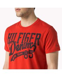 Tommy Hilfiger | Red Cotton Printed T-shirt for Men | Lyst