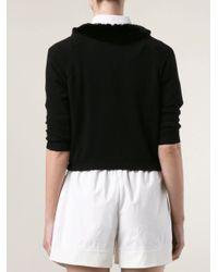 Blumarine Black Fur Collar Cardigan