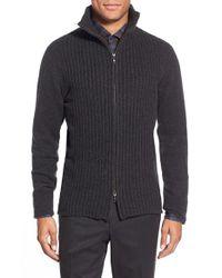 Zachary Prell Gray 'goldhawk' Merino Wool & Cashmere Zip Sweater for men