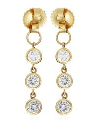Janis Savitt | Metallic Triple Diamond Hoop Earrings | Lyst