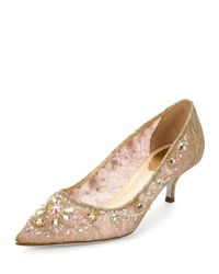 Rene Caovilla - Metallic Crystal-Embellished Lace Pumps - Lyst