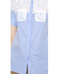 N°21 | Blue Striped Blouse with Lace Pockets | Lyst
