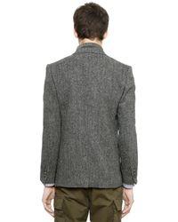 Miharayasuhiro Gray Herringbone Wool Tweed Jacket for men