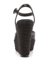 Alice + Olivia Black Jenna Snake Embossed Leather Wedge Sandal