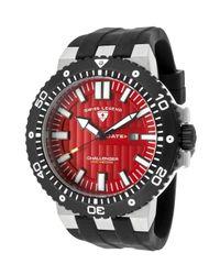 Swiss Legend - Challenger Black Silicone Red Dial Black Ip Steel Bezel for Men - Lyst