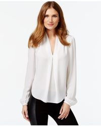 Michael Kors | White Michael Petite Long-sleeve Pleated Blouse | Lyst
