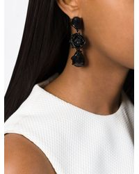 Oscar de la Renta Black Rose Bud Drop Pendant Earrings