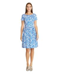 Oscar de la Renta | Blue Abstract Shapes Stretch Cotton Dress | Lyst