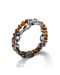 John Hardy - Brown Stainless Steel Double Wrap Link Bracelet for Men - Lyst