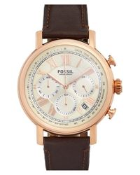 Fossil Brown 'buchanan' Chronograph Leather Strap Watch