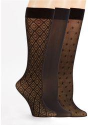 Ellen Tracy | Black Three Pack Trouser Socks | Lyst