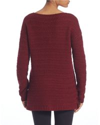 Lord & Taylor | Red Rack-stitch Boat-neck Sweater | Lyst