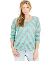 Jessica Simpson - Blue Plus Size Pearl Three-Quarter-Sleeve Striped Top - Lyst