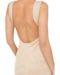 AKIRA - Natural Swing Low Suede Nude Midi Dress - Lyst
