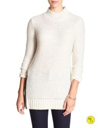 Banana Republic | Natural Factory Textured Mock-neck Sweater | Lyst
