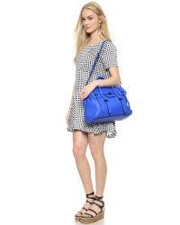 Rebecca Minkoff Blue Finn Fringe Suede Crossbody Bag