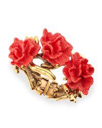 Oscar de la Renta | Pink Red Coral-motif Hinge Bracelet | Lyst