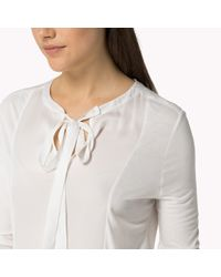 Tommy Hilfiger | White Cotton Viscose Bow Top | Lyst