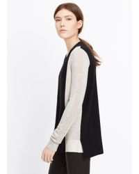 Vince | Black Colorblock Cashmere Crew Neck Sweater | Lyst