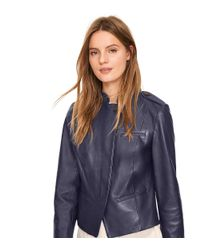 Tory Burch - Blue Leather Motorcycle Jacket - Lyst
