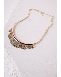 Missguided | Metallic Coin Detail Bib Necklace Gold | Lyst