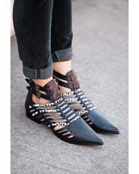 Forever 21 Black Jungle Frenzy Cutout Booties