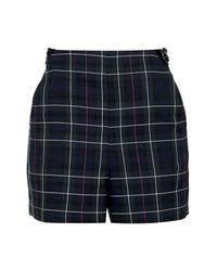 TOPSHOP | Blue Petite Tartan High-waisted Shorts | Lyst