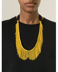 N°21 - Yellow Beaded Fringe Necklace - Lyst