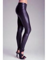 Bebe Black Petite V-yoke Wet Leggings